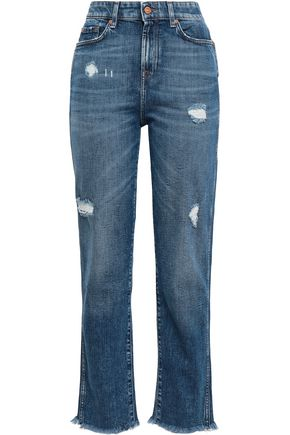 7 FOR ALL MANKIND Distressed high-rise straight-leg jeans