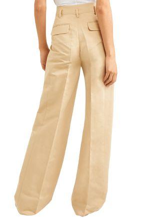 FRAME Cotton and linen-blend wide-leg pants
