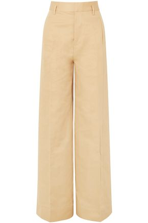 FRAME Cotton and linen-blend twill wide-leg pants