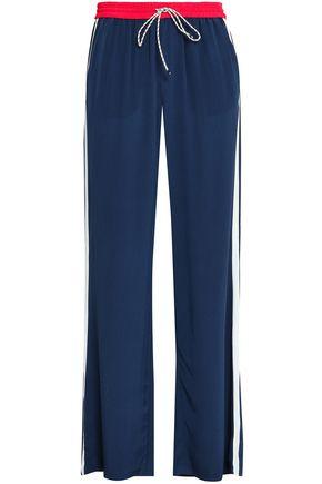 JOIE Striped crepe de chine wide-leg pants