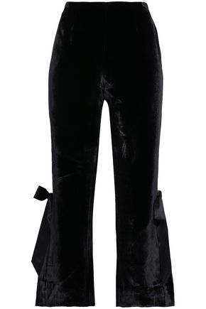 CINQ À SEPT Lou cropped bow-embellished velvet flared pants