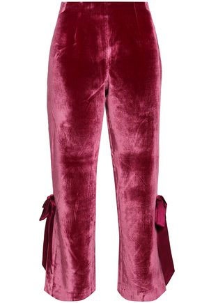 CINQ À SEPT Lou cropped bow-embellished velvet flared pants