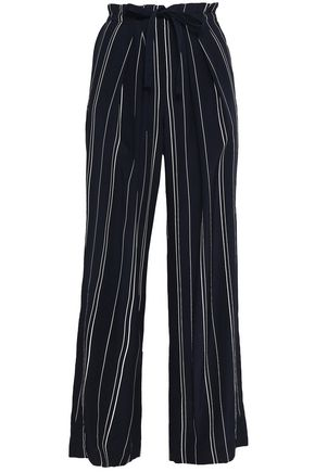 VINCE. Striped silk crepe de chine tapered pants