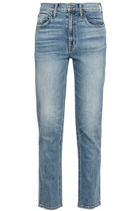 VINCE. Distressed high-rise slim-leg jeans