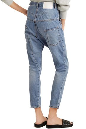 BASSIKE Faded high-rise tapered jeans