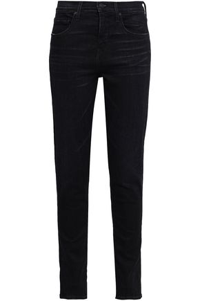 VINCE. Faded mid-rise skinny jeans