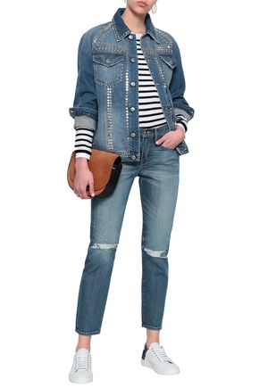 FRAME Le Boy distressed mid-rise slim-leg jeans