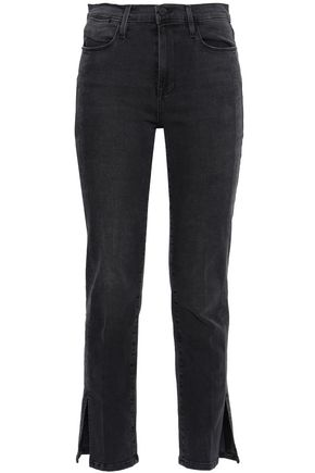 FRAME Cutout high-rise straight-leg jeans