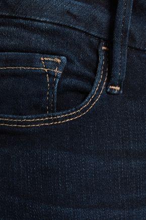 FRAME Fringed high-rise kick-flare jeans