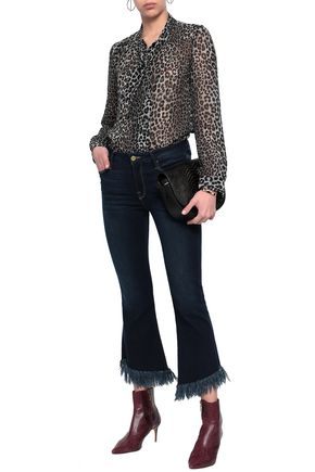 FRAME Fringed high-rise kick-flare jeans