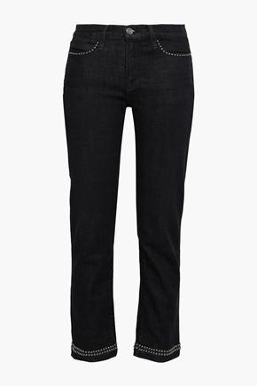 FRAME Studded mid-rise straight-leg jeans
