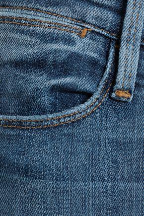 FRAME Distressed high-rise straight-leg jeans