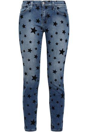 CURRENT/ELLIOTT Printed faded mid-rise skinny jeans