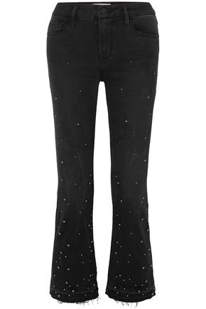 FRAME Studded frayed mid-rise bootcut jeans