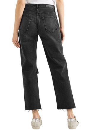 GRLFRND Cropped distressed high-rise straight-leg jeans