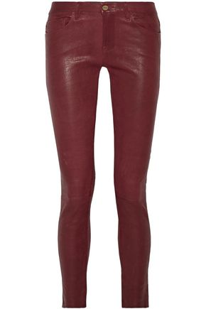 FRAME Crushed-leather leather skinny pants