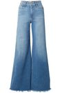 FRAME Frayed faded high-rise wide-leg jeans