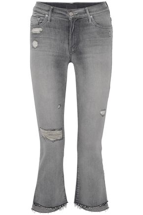 MOTHER Distressed high-rise bootcut jeans