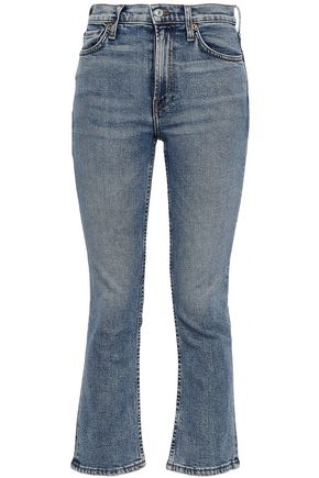 RE/DONE Cropped faded high-rise bootcut jeans