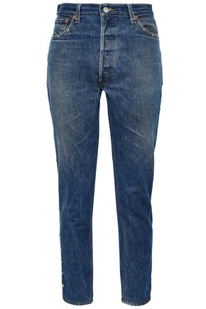 RE/DONE by LEVI'S Cropped studded high-rise slim-leg jeans