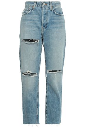 RE/DONE Cropped distressed high-rise straight-leg jeans