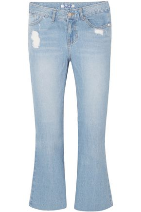 SJYP Cropped knotted distressed mid-rise bootcut jeans