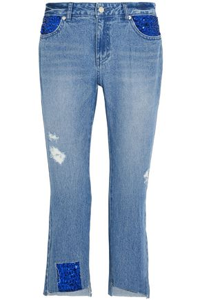 SJYP Cropped embellished distressed mid-rise slim-leg jeans