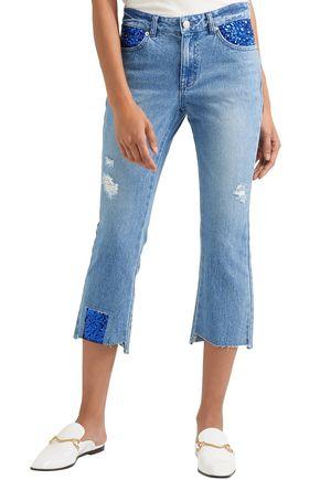 SJYP Cropped embellished distressed mid-rise slim-leg jeans