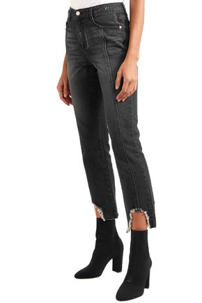 SJYP Distressed high-rise slim-leg jeans