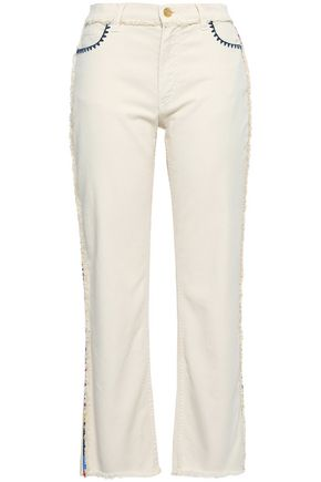 ETRO Frayed embroidered high-rise straight-leg jeans