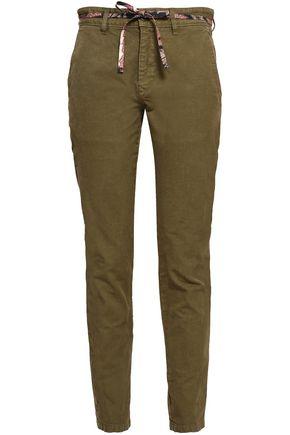 ISABEL MARANT Belted cotton-canvas slim-leg pants