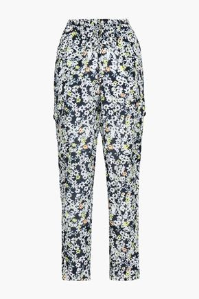 SEE BY CHLOE | See By Chloé Woman Floral-print Crepe Tapered Pants Black | Goxip