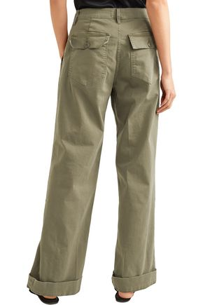 FRAME Stretch-cotton gabardine wide-leg