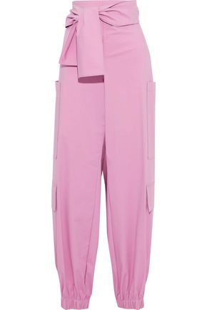 MSGM Tie-front stretch-cotton poplin wide-leg pants