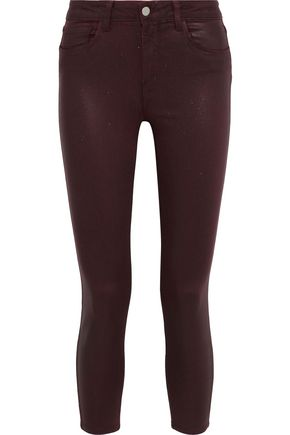 L'AGENCE Margot cropped glittered mid-rise skinny jeans