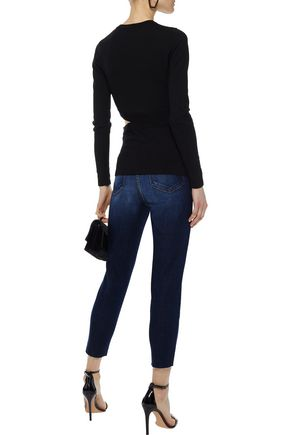 L'AGENCE Abigail cropped distressed high-rise slim-leg jeans