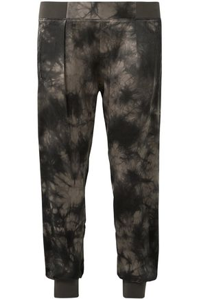 ATM ANTHONY THOMAS MELILLO Tie-dyed crinkled silk-charmeuse tapered pants