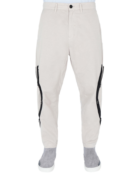 STONE ISLAND SHADOW PROJECT TROUSERS 30109 ADJUSTMENT ZIP UP TROUSERS (BRUSHED COTTON SATIN)