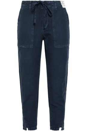 AMO Cropped linen and cotton-blend tapered pants