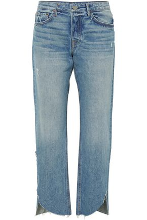 GRLFRND Distressed mid-rise straight-leg jeans