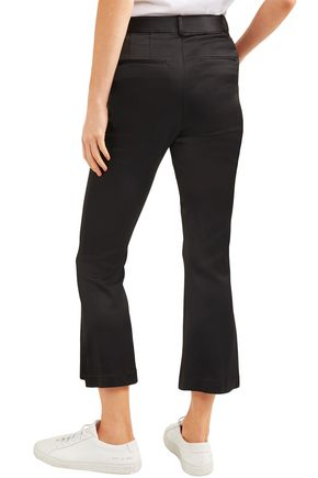 FRAME Cropped satin-crepe bootcut pants