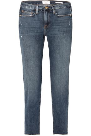FRAME Cropped distressed mid-rise straight-leg jeans