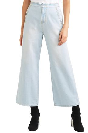 SJYP Frayed high-rise wide-leg jeans