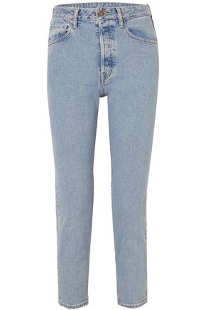 BASSIKE Cropped high-rise slim-leg jeans