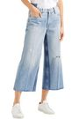 FRAME Cropped distressed faded high-rise wide-leg jeans