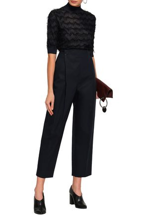 JIL SANDER Lace-up cropped cotton tapered pants