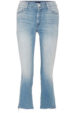 MOTHER Frayed high-rise bootcut jeans