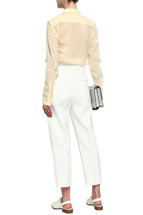 JIL SANDER Paneled cotton-blend canvas and twill tapered pants