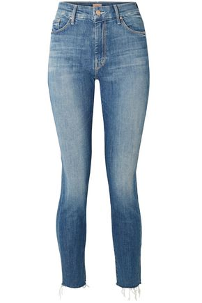 MOTHER Faded high-rise slim-leg jeans