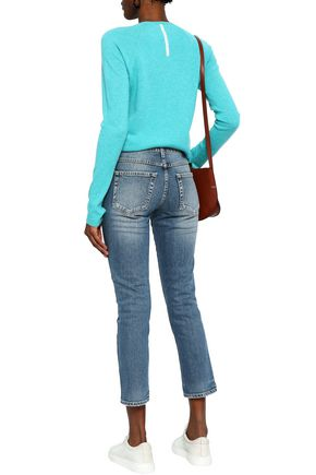 AMO Cropped distressed faded mid-rise skinny jeans